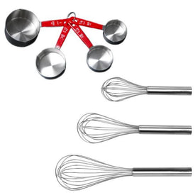 BergHOFF 7Pc Stainless Steel Bake Set: 3Pc Whisks & 4Pc Measuring Cup Set