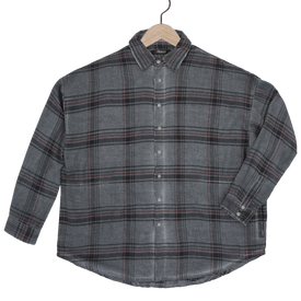 Parson plaid drop shoulder shirt in slate grey