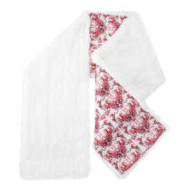 WHITE FAUX FUR SCARF WITH PINK REPETITIVE FACE PRINT