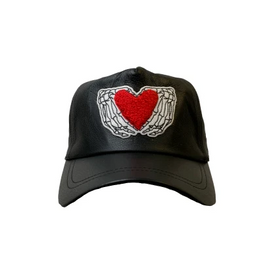 HEARTED HANDS BLACK LEATHER TRUCKER HAT
