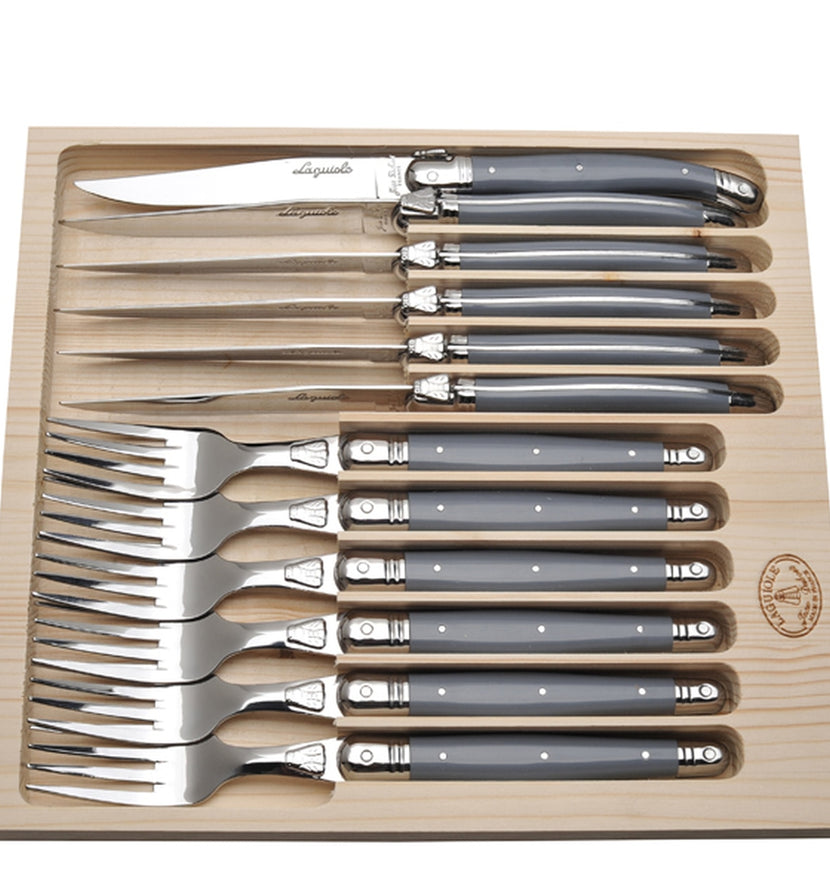 Jean Dubost 12 Pc Cutlery Set with Gray Handles