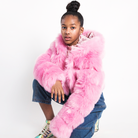 PINK FAUX FUR CROPPED JACKET WITH HOOD
