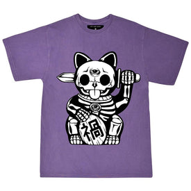 UNLUCKY CAT PASTEL PURPLE TEE