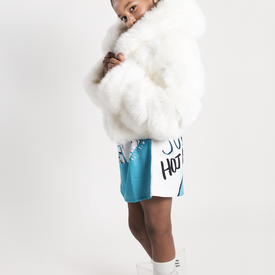 WHITE FAUX FUR CROPPED JACKET WITH HOOD