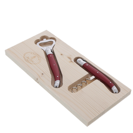 Jean Dubost Corkscrew & Bottle Opener Set with Red Handles