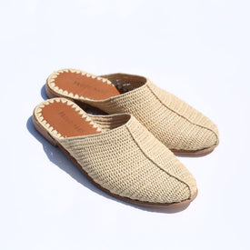Raffia Closed-Toe Slide (Natural)