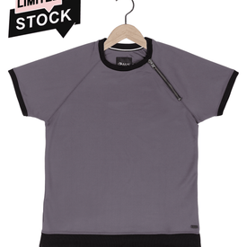 Scuba zip tee in cool grey