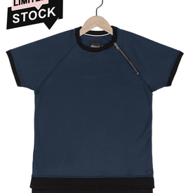Scuba zip tee in placid blue