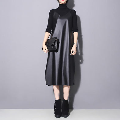 Marigold Shadows dresses Bakaitis Vegan Leather Spaghetti Dress