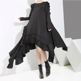 Kirika O-Neck Ruffles Split Dress