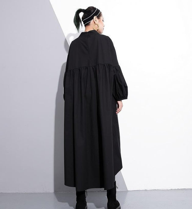 Marigold Shadows dresses Mitsukazu Grommet Long Sleeve Dress
