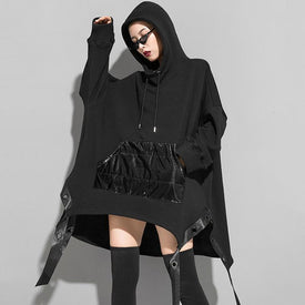 Megumi Loose Asymmetrical Hooded Sweatshirt - Black
