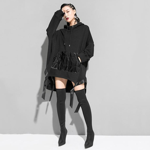 Marigold Shadows sweaters Megumi Loose Asymmetrical Hooded Sweatshirt - Black