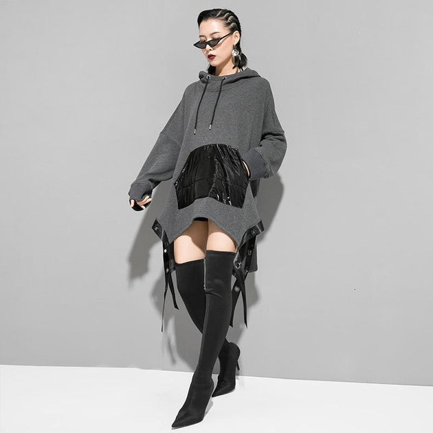 Marigold Shadows sweaters \Megumi Loose Asymmetrical Hooded Sweatshirt - Gray