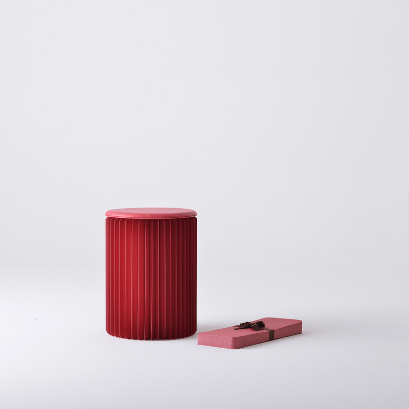 Foldable Circular Paper Table - Red - Paper Lounge