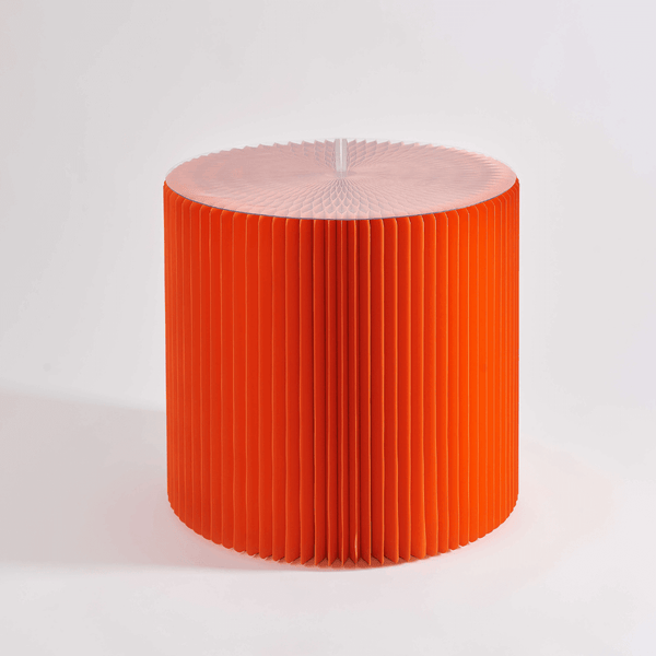 Foldable Circular Paper Table - Orange - Paper Lounge