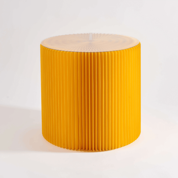 Foldable Circular Paper Table - Yellow - Paper Lounge