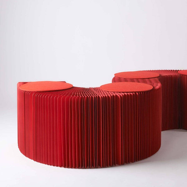Foldable Paper Bench - Red - Paper Lounge