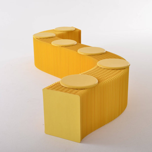Foldable Paper Bench - Yellow - Paper Lounge
