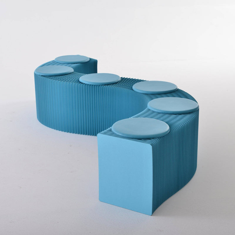Foldable Paper Bench - Blue - Paper Lounge