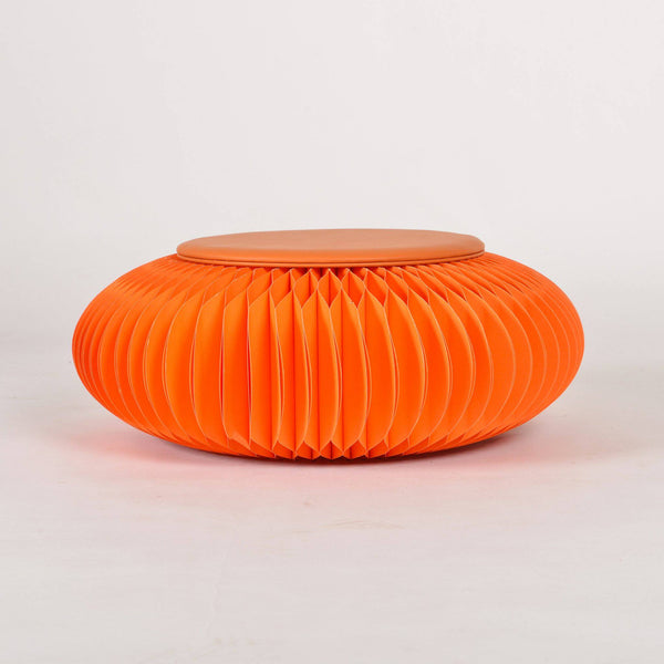 Paper Foot Stool - Orange - Paper Lounge