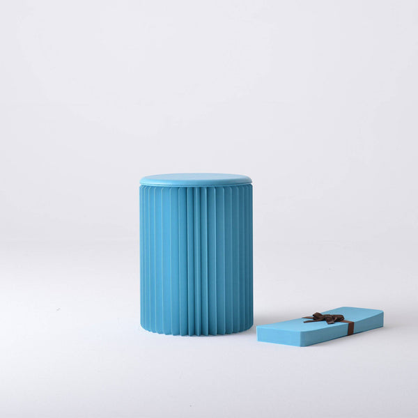 Concertina Paper Stool - Blue - Paper Lounge