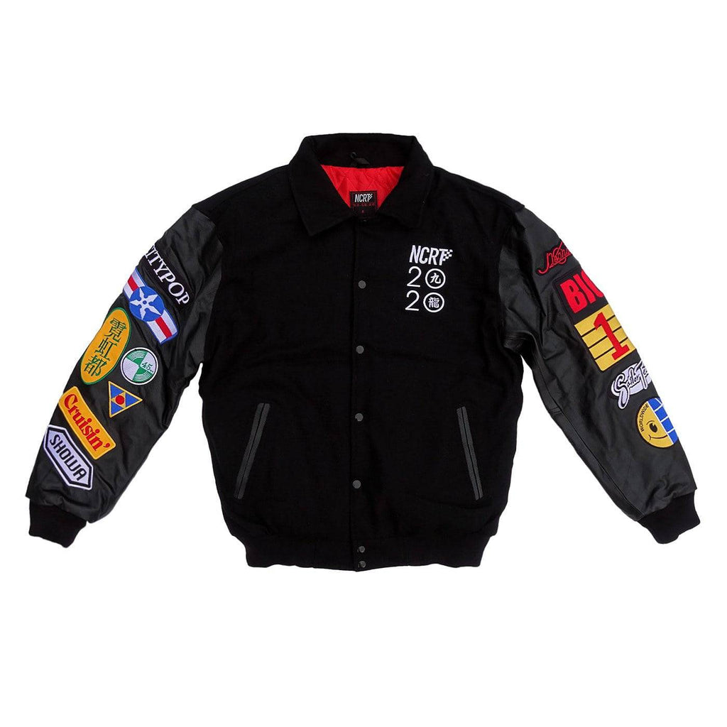 Black Neo Kowloon Wool Varsity Jacket MK II - NCRT | Neoncity Racing Team