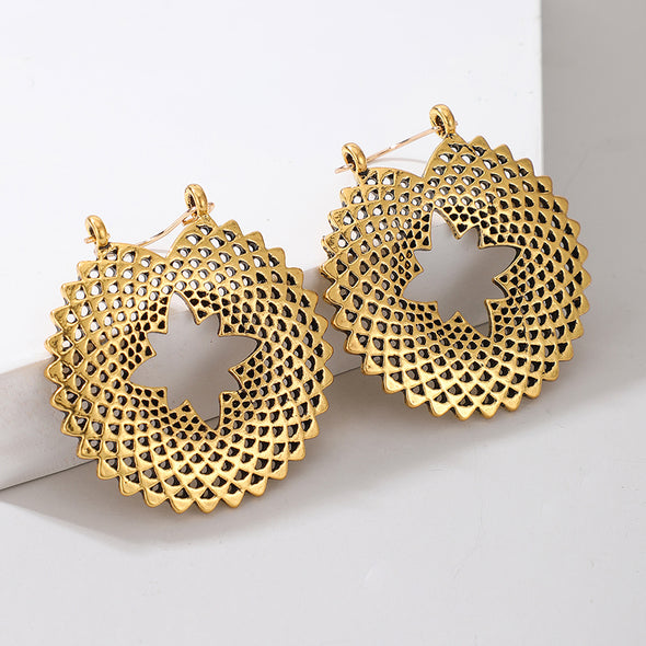 Honeycomb Lotus Geometric Earrings