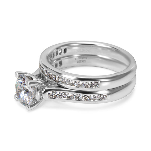 BRAND NEW Diamond Engagement Ring Bridal Set in 18K White Gold 0.65 ctw