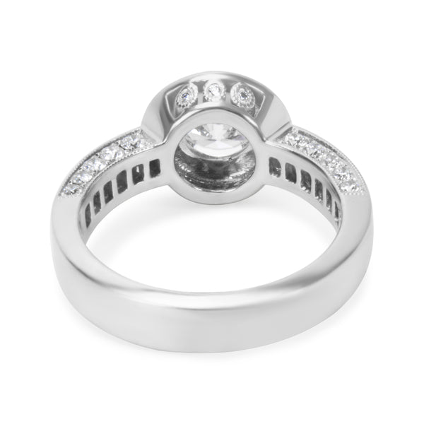 BRAND NEW Diamond Halo Engagement Ring Setting in 18K White Gold (0.80 CTW)