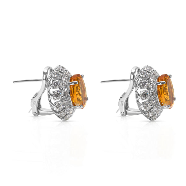 BRAND NEW Diamond & Yellow Topaz Fashion Earrings in 18k White Gold (2.69 CTW)