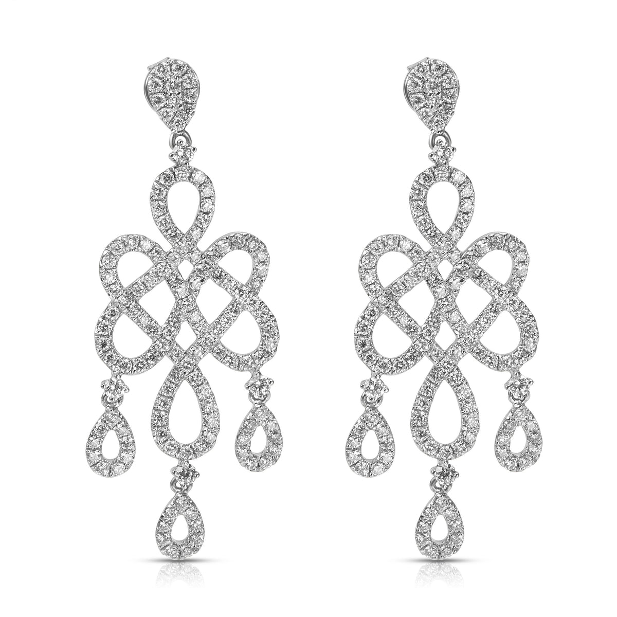 BRAND NEW Chandelier Earrings in 18K White Gold with Diamonds (2.75 CTW)