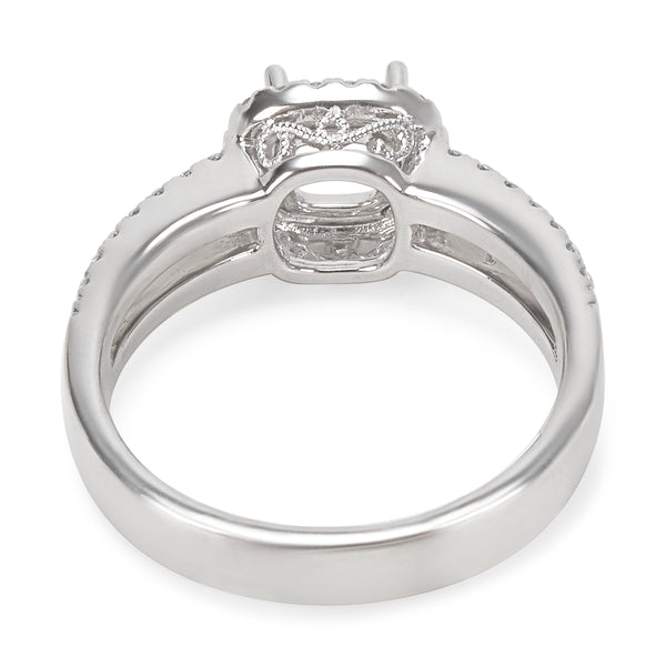 BRAND NEW Diamond Halo Engagement Ring Setting in 18KT White Gold (0.34 CTW)
