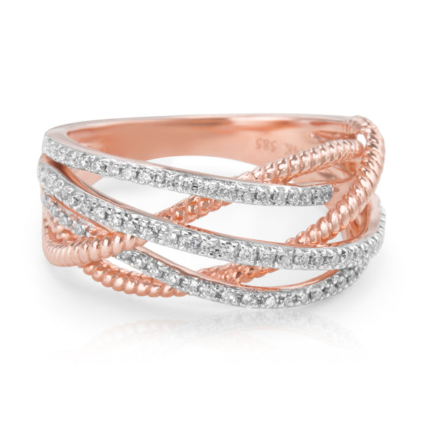 BRAND NEW Crossover Diamond Ring in 18K White and Rose Gold (1.76 CTS)