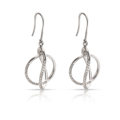 Interlocking Circles Diamond Drop Earrings in 14K White Gold  0.50CTW