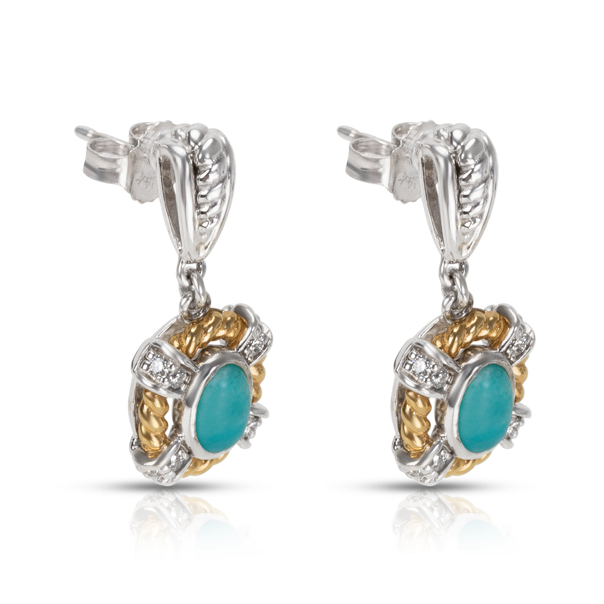 BRAND NEW Amazonite & Diamond Fashion Earrings in 14k Two-Tone Gold (0.19 CTW)
