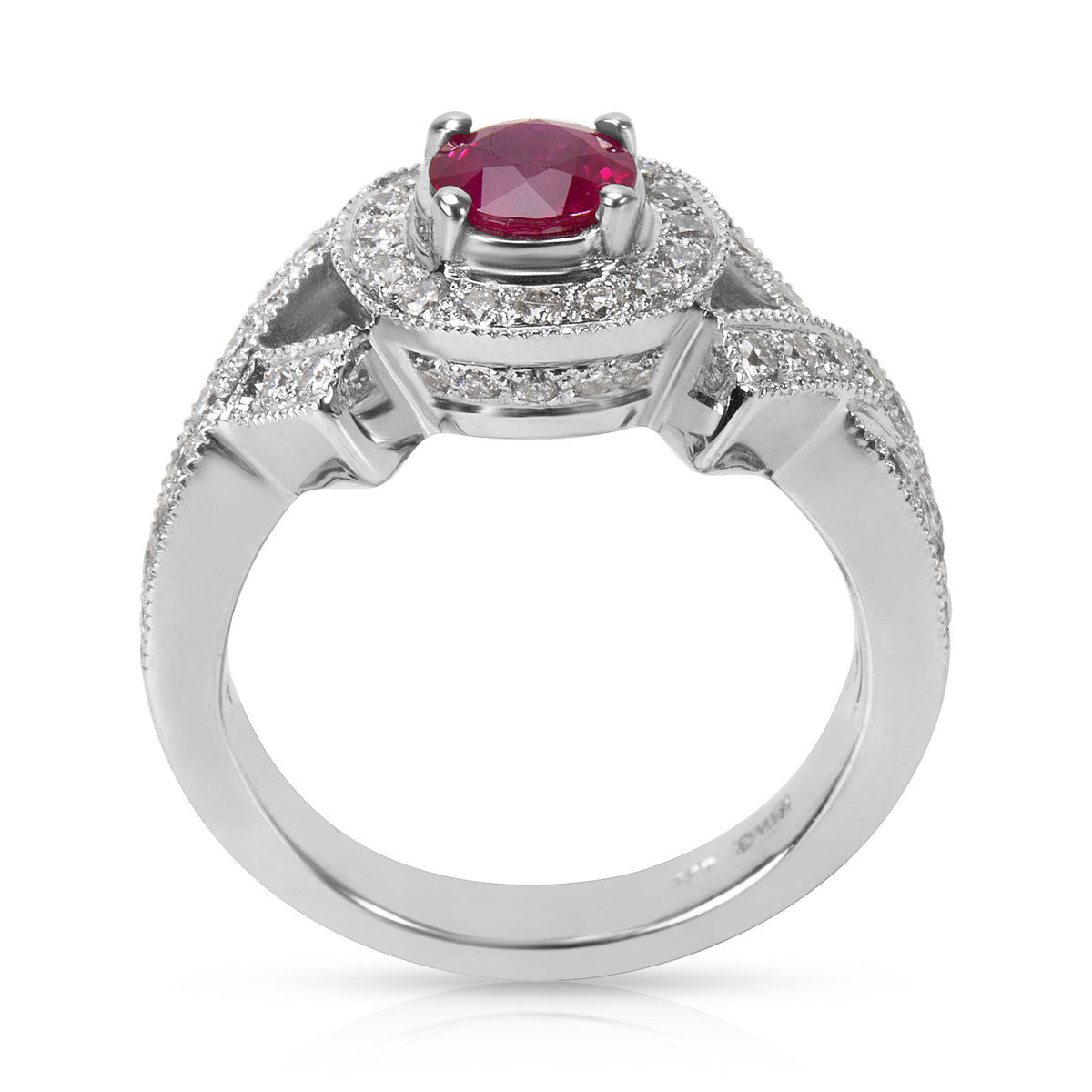 BRAND NEW Diamond and Ruby Fashion Ring in 18K White Gold (0.65 CTW)