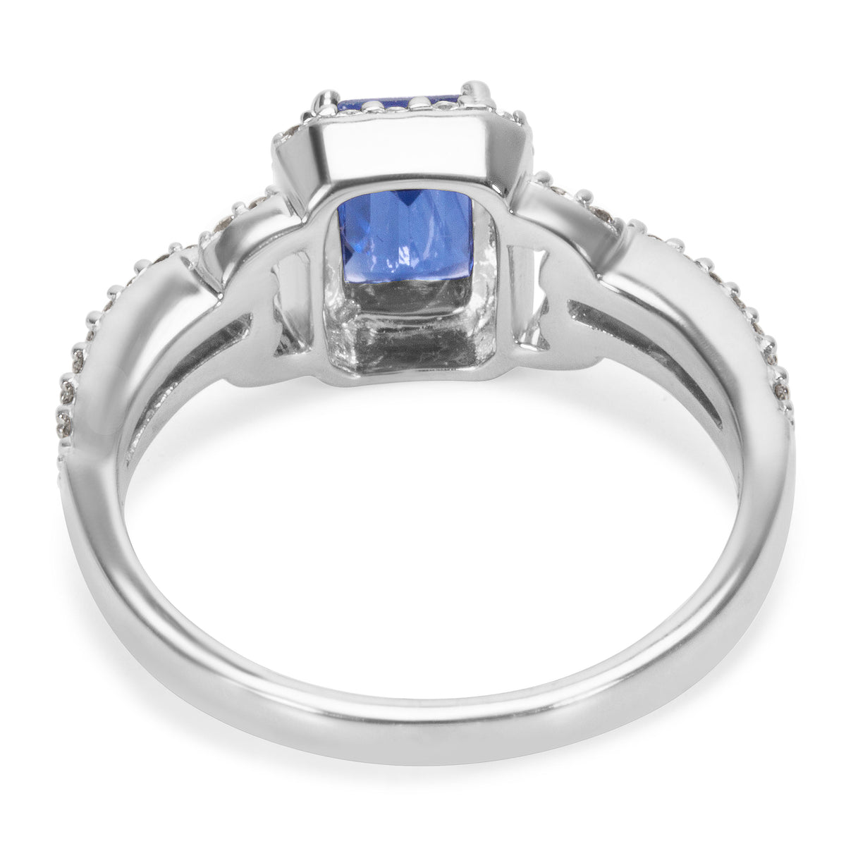 BRAND NEW Sapphire and Diamond Vintage Style Ring in 14K White Gold (0.38 CTW)
