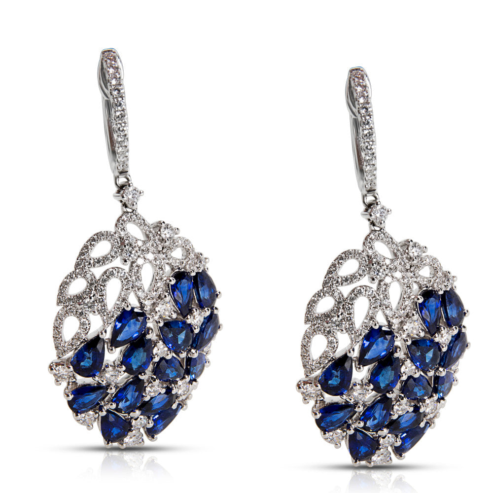 Diamond & Blue Sapphire Drop Earrings in 18K White Gold (1 2/3 CTW Diamonds)