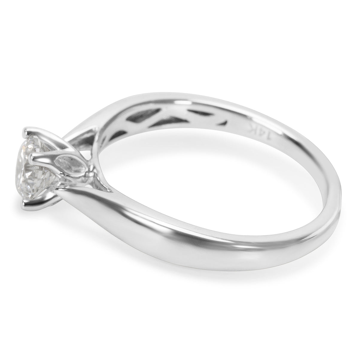 BRAND NEW Solitaire Engagement Ring in 14K White Gold with Diamonds (0.55 CTW)