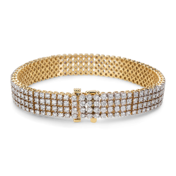 BRAND NEW 4-Row Diamond Tennis Bracelet in 14k Yellow Gold (7.00 CTW)
