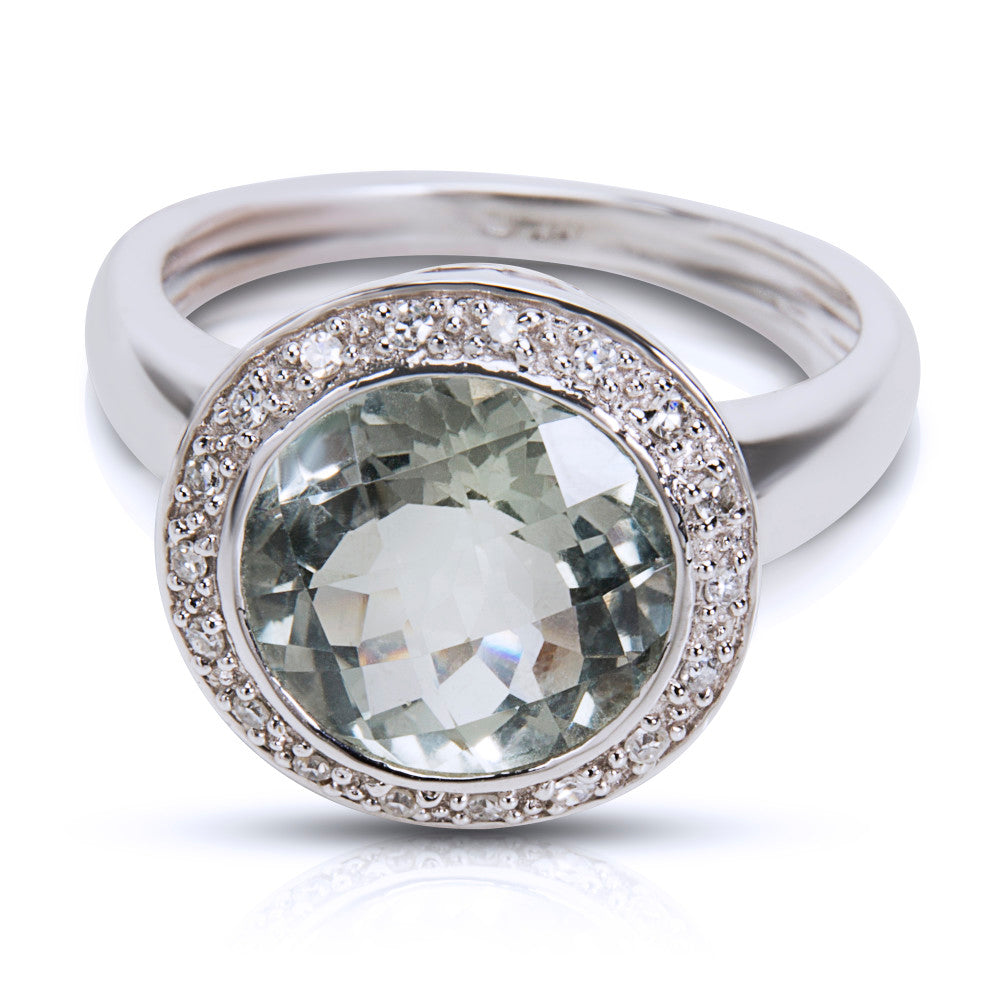 BRAND NEW Diamond & Green Amethyst Fashion Ring in 14K White Gold (0.09 CTW)