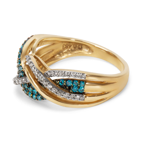 Blue & White Diamond Ring in 10KT Yellow Gold 0.50 ctw