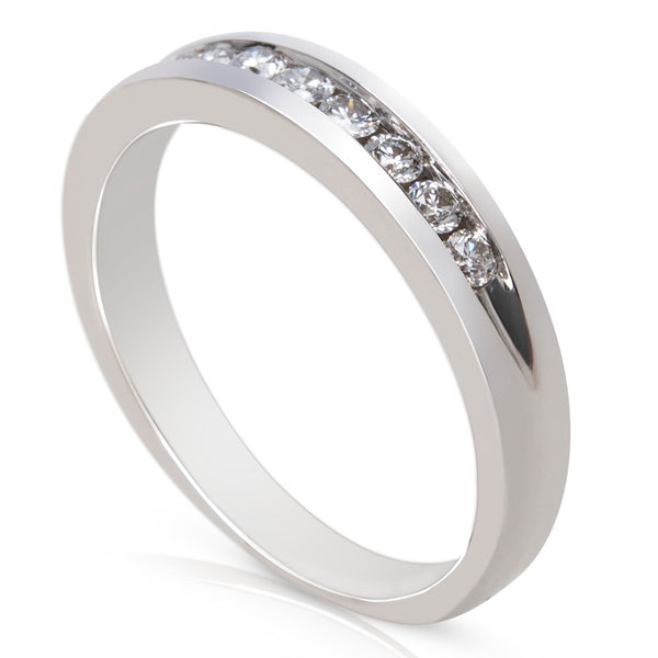 BRAND NEW Diamond Channel Setting Wedding Band in 14K White Gold (0.25 CTW)