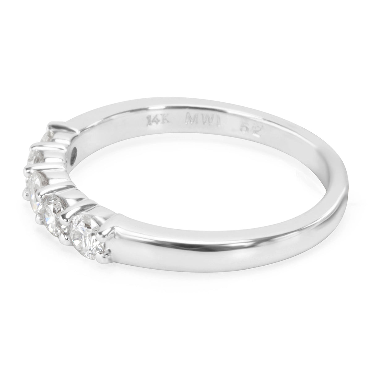 BRAND NEW Five Stone Diamond Wedding Band in 14K White Gold (0.52 CTW)