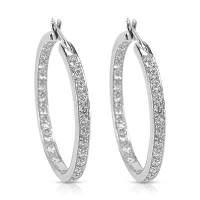 BRAND NEW Diamond Hoop Earrings in 14K White Gold (2.02 CTW)