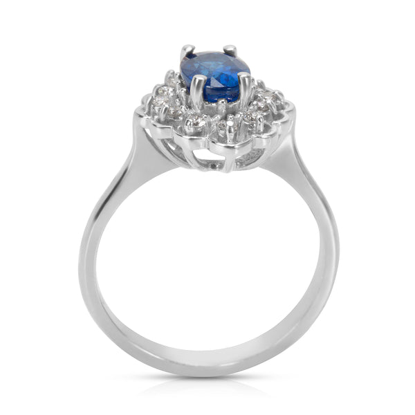 BRAND NEW Diamond & Sapphire Gemstone Ring in 14k White Gold (0.13 CTW)