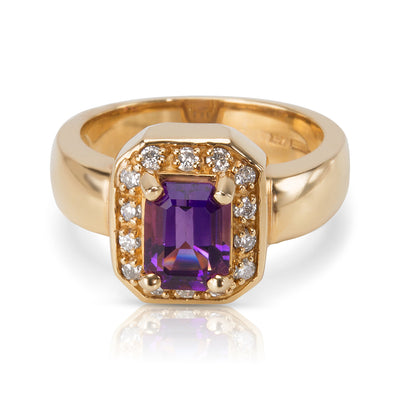 Diamond Halo Amethyst Ring in 14KT Yellow Gold 1.58ctw