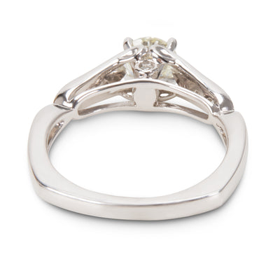 BRAND NEW Prong Set Engagement Ring in 14K White Gold with Diamonds (0.88 CTW)