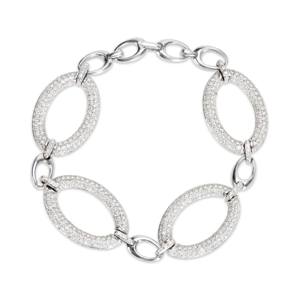BRAND NEW Diamond Pave Link Bracelet in 18k White Gold (11.50 CTW)